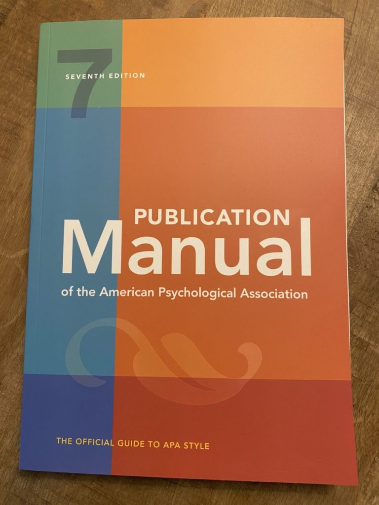 Picture of the APA Seventh Edition Publication Manual of the American Psychological Association, part of the OpencityInc 9 books that made a positive difference in 2020