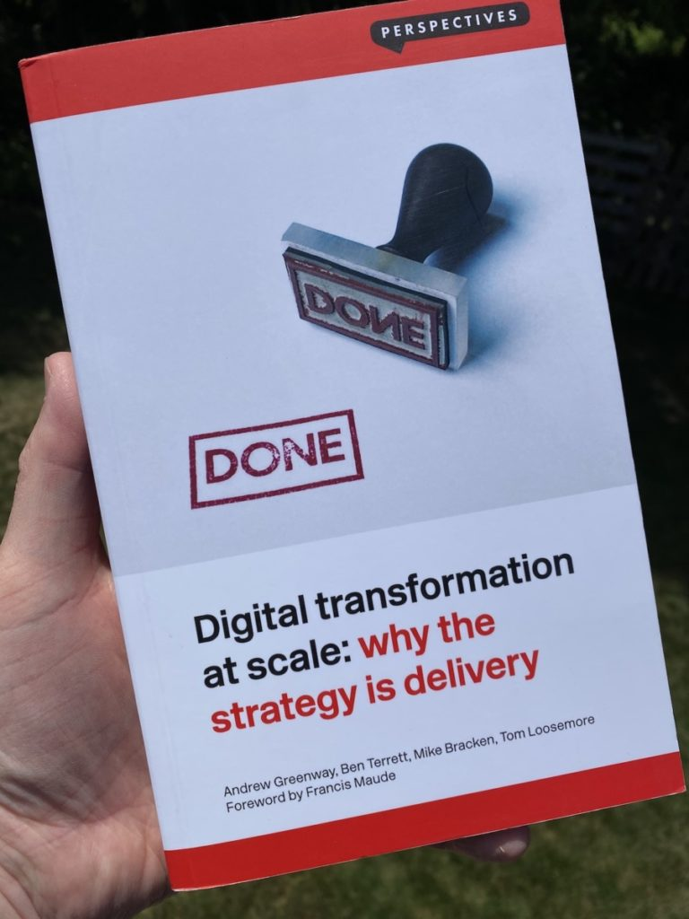 Picture of the book by Andrew Greenway on Digital Transformation at Scale, part of the OpencityInc 9 books that made a positive difference in 2020