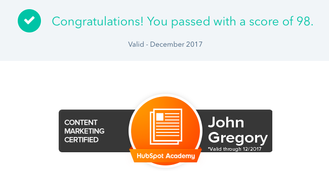 Love Lose November, HubSpot Academy, Content Marketing, John Gregory