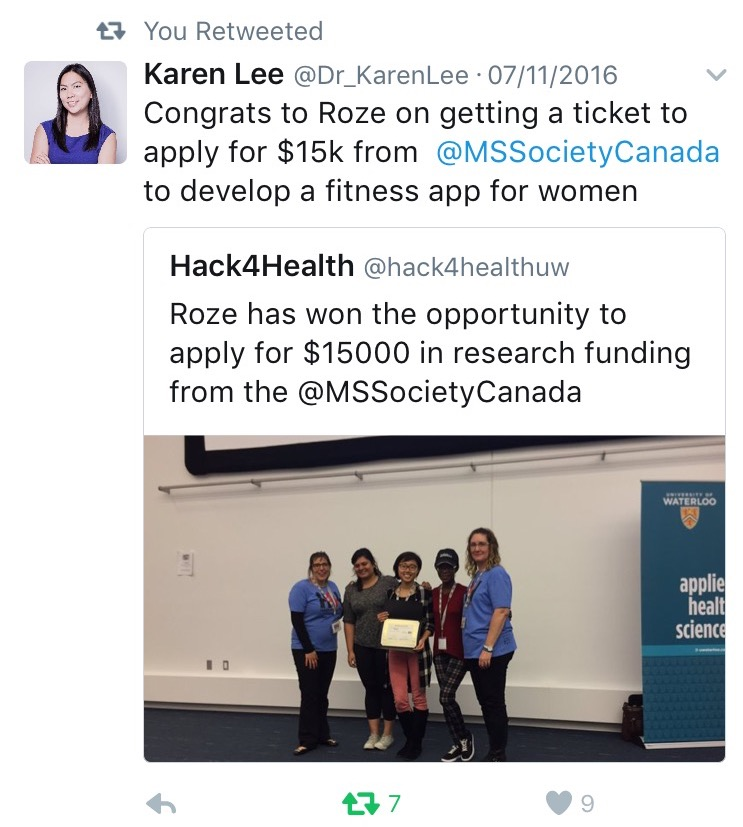 MS Society Canada, Dr Karen Lee, Hack4Health,
