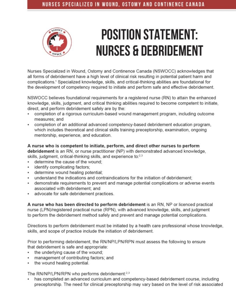 NSWOCC position statement on nurses and debridement, first page
