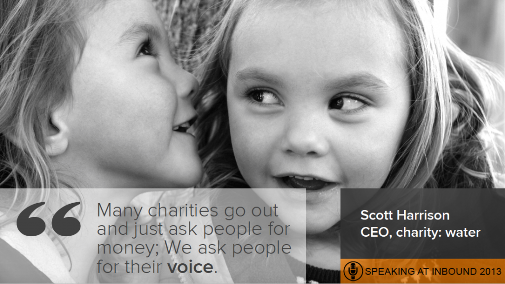 Opencity Inc., charity spotlight, charity: water, Scott Harrison, Inbound 2013, HubSpot,