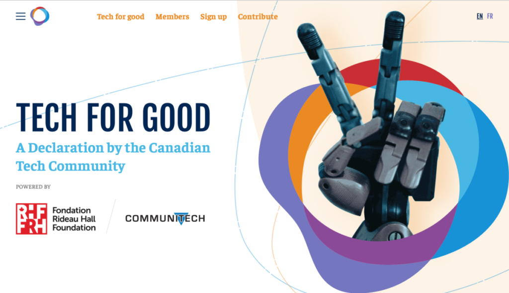 Tech for Good Declaration, Rideau Hall Foundation, True North, Communitech