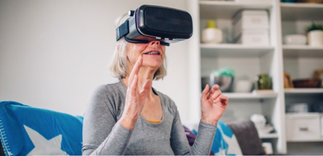 the future of aging, se health, idea couture, older woman with VR headset