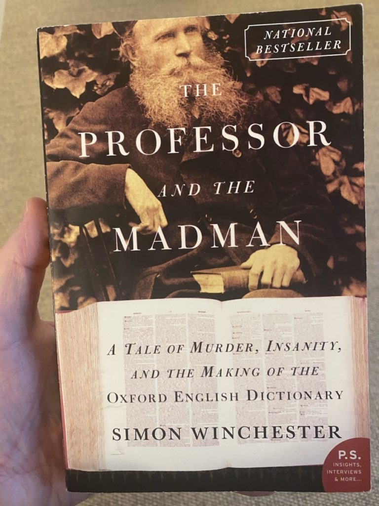 Picture of the book by Simon Winchester on The Professor and the Madman, part of the OpencityInc 9 books that made a positive difference in 2020