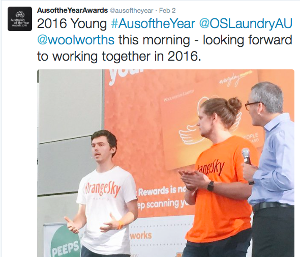 Young Australian of the Year, Orange Sky Laundry, OSL, Opencity Inc., Charity Spotlight, homeless
